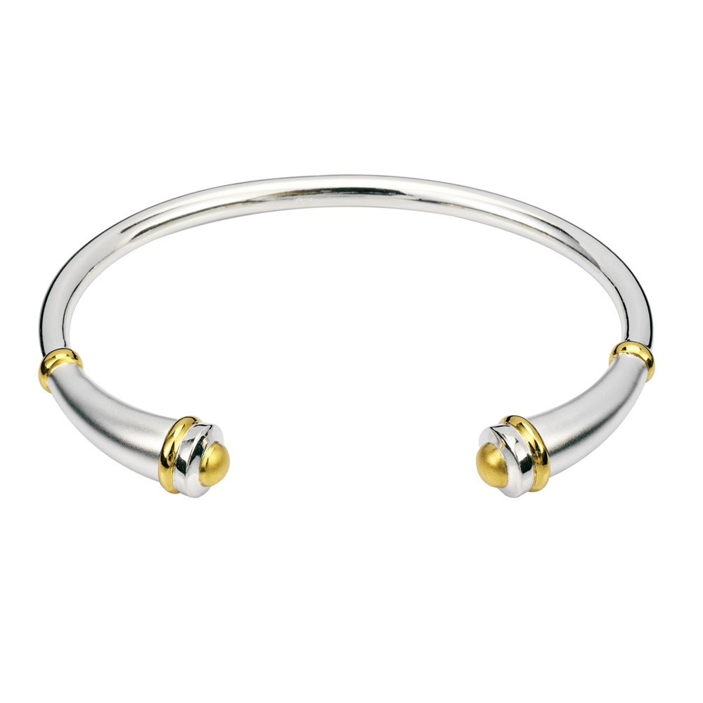 Cremation Bracelet Sterling Silver & 14K Yellow Gold Vermeil Classic Round Flute - Keepsake Jewelry | Treasured Memories