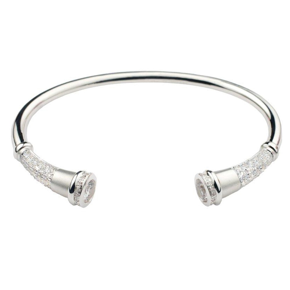 Cremation Bracelet Sterling Silver Diamond Pavé Flute - Keepsake Jewelry | Treasured Memories