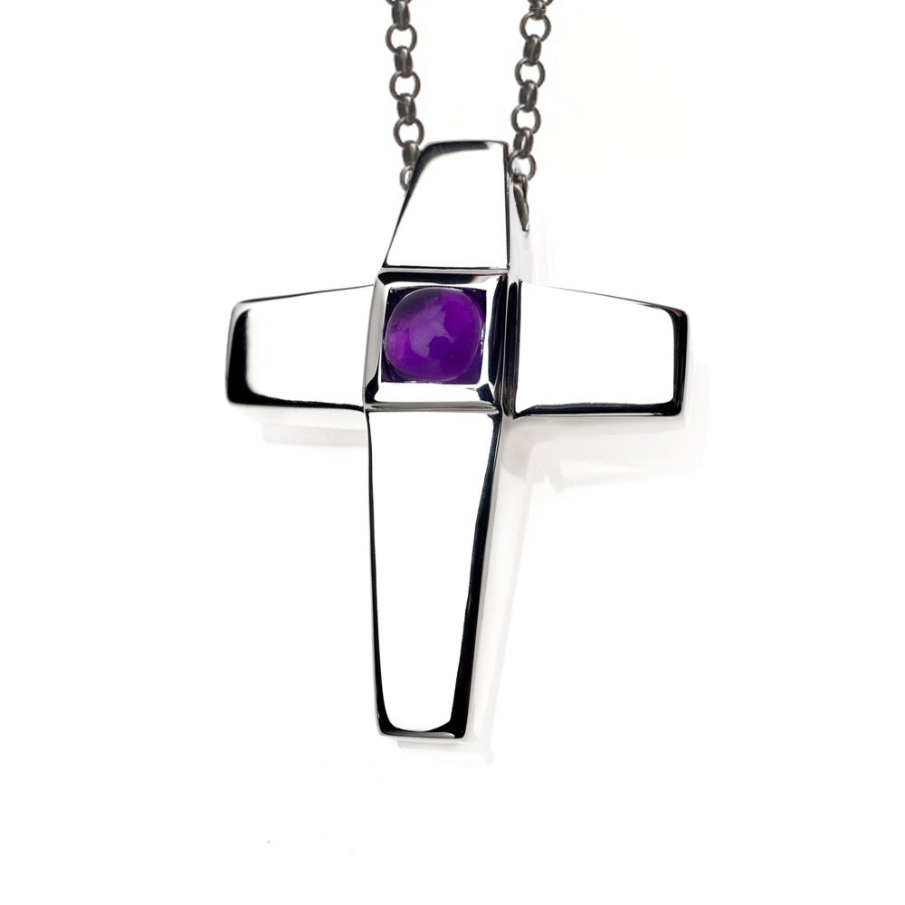 Cross Cremation Pendant Sterling Silver with Amethyst - Keepsake Jewelry | Treasured Memories