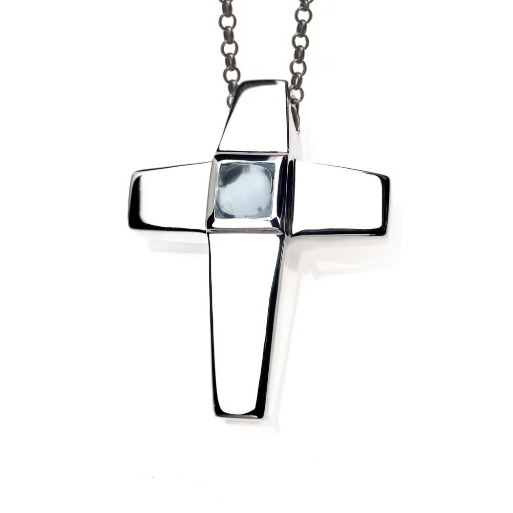 Cross Cremation Pendant Sterling Silver with Aquamarine - TM Keepsake | Treasured Memories Cremation Jewelry