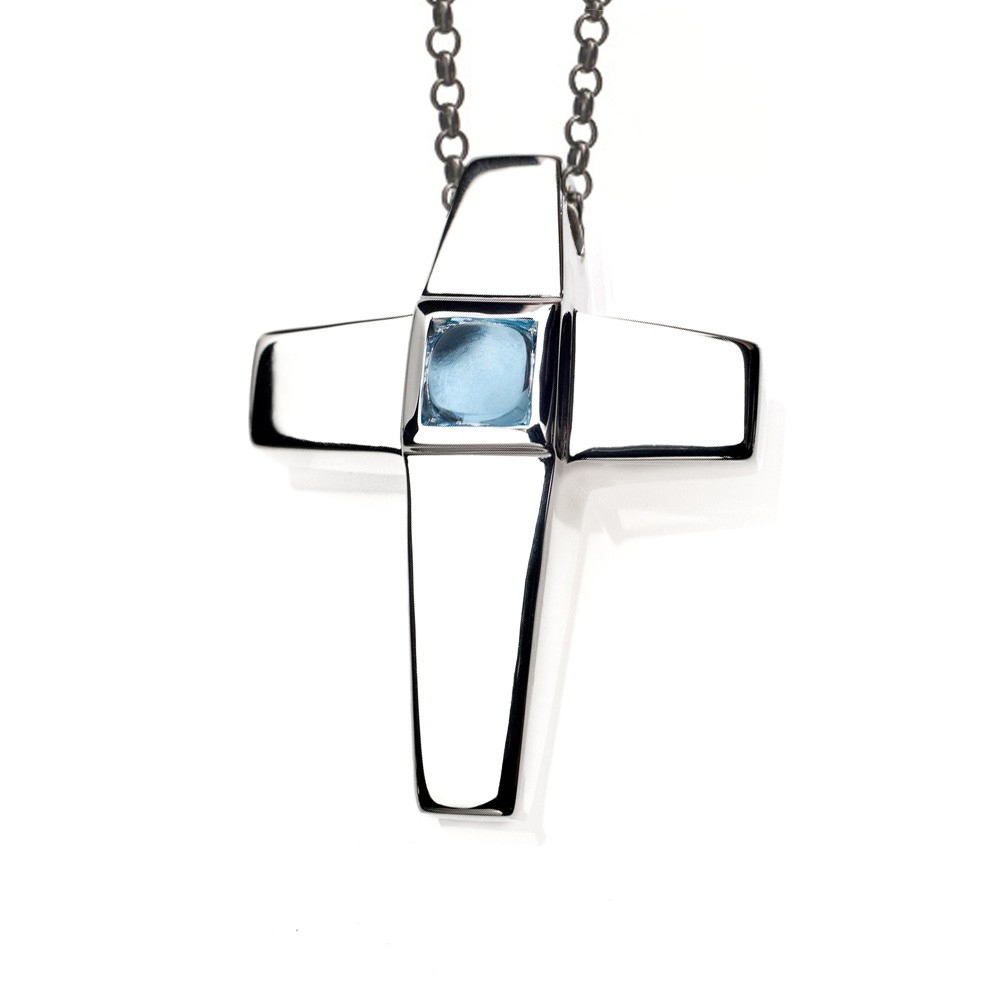 Cross Cremation Pendant Sterling Silver with Blue Topaz Birthstone - Treasured Memories | Keepsake Jewelry