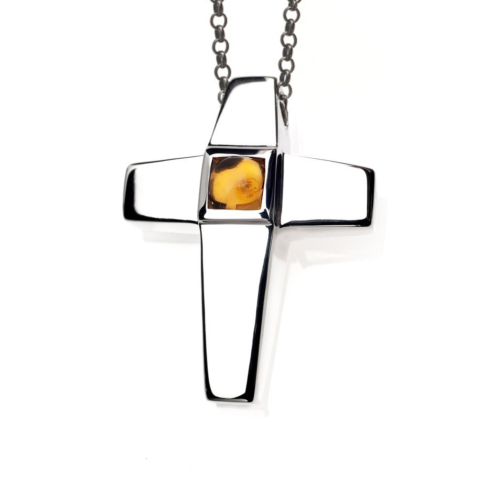 Cremation Jewelry Cross Keepsake Pendant With Citrine by Treasured Memories, Inc.
