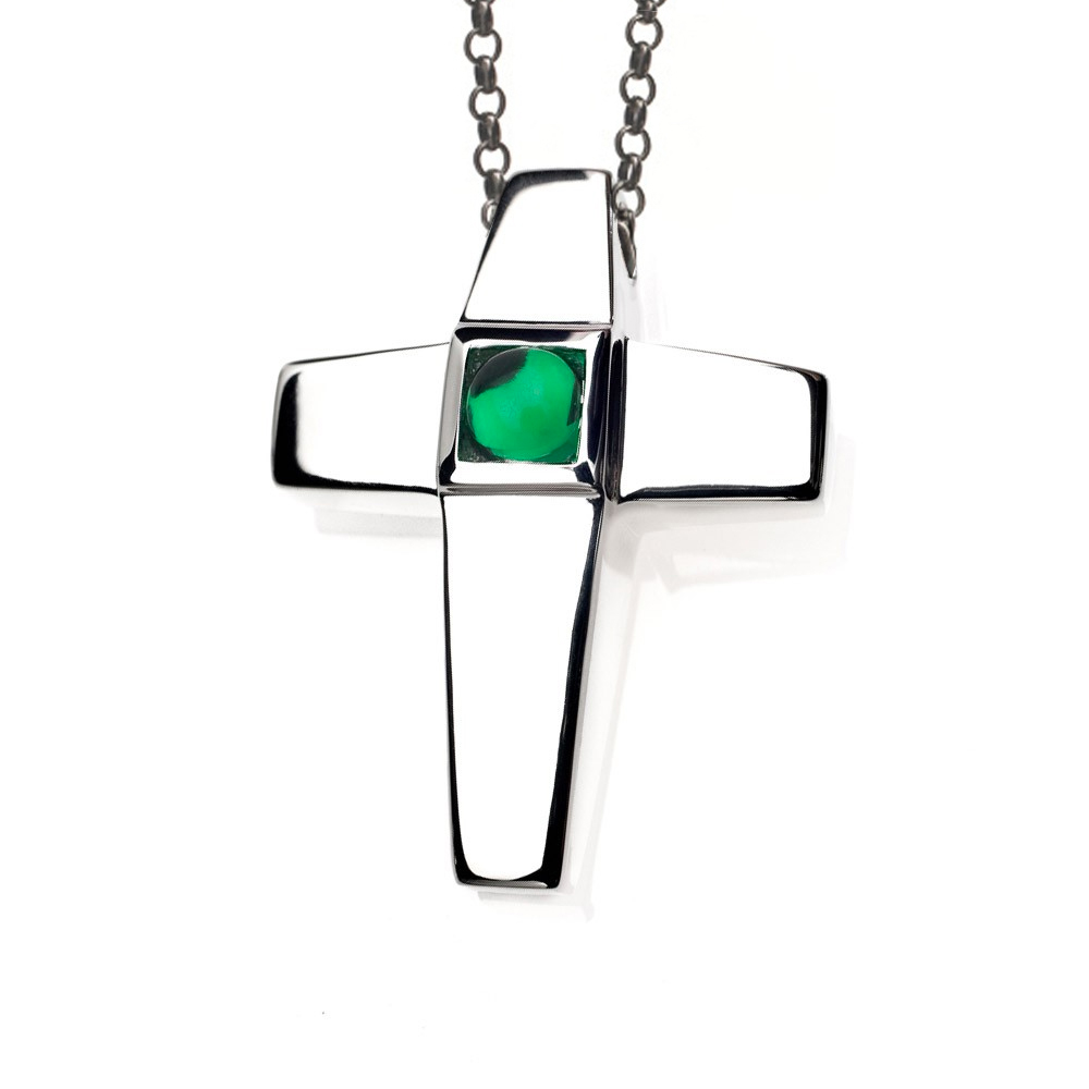Cross Cremation Pendant Sterling Silver with Emerald Birthstone - TM Keepsake | Treasured Memories Cremation Jewelry