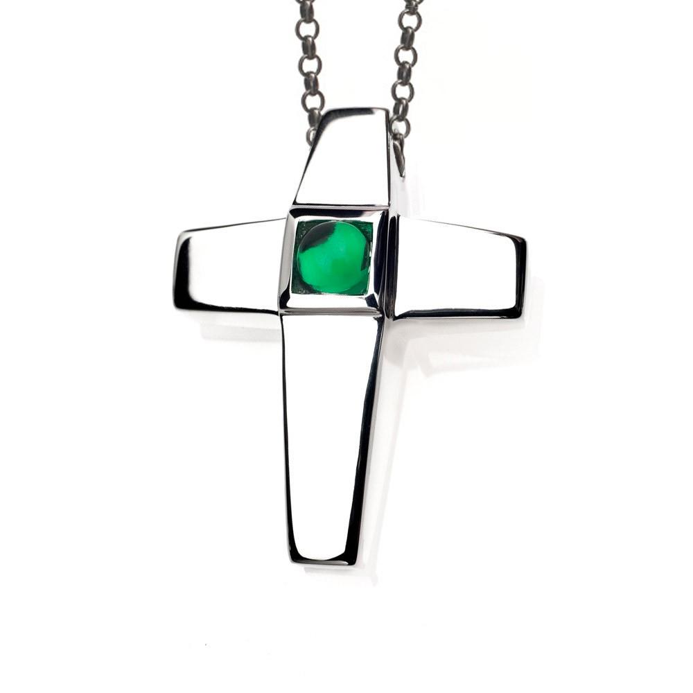 Cross Cremation Pendant Sterling Silver with Emerald Birthstone - Treasured Memories | Keepsake Jewelry