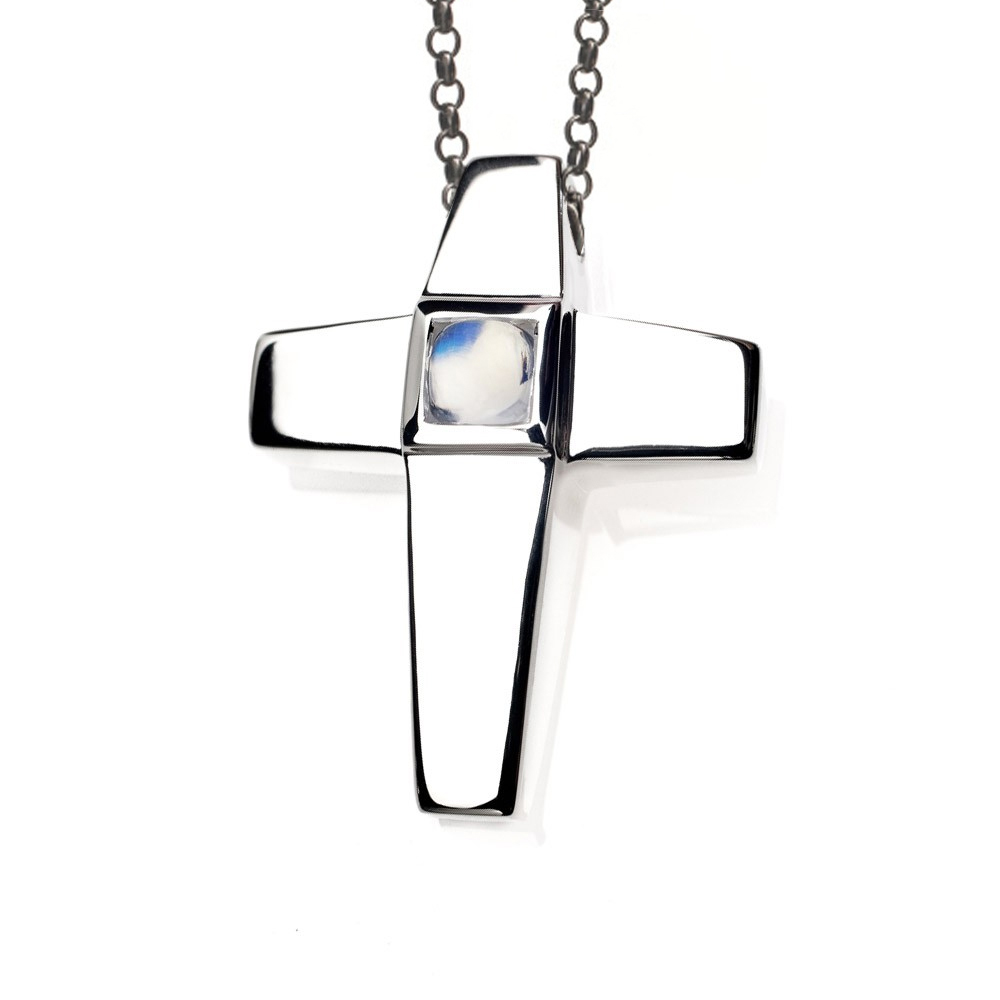 Cross Cremation Pendant Sterling Silver with Moonstone Birthstone - TM Keepsake | Treasured Memories Cremation Jewelry