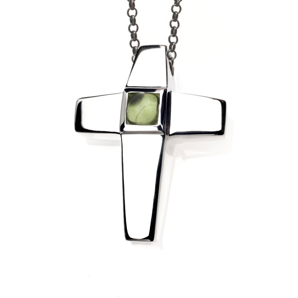 Cross Cremation Pendant Sterling Silver with Peridot Birthstone - TM Keepsake | Treasured Memories Cremation Jewelry