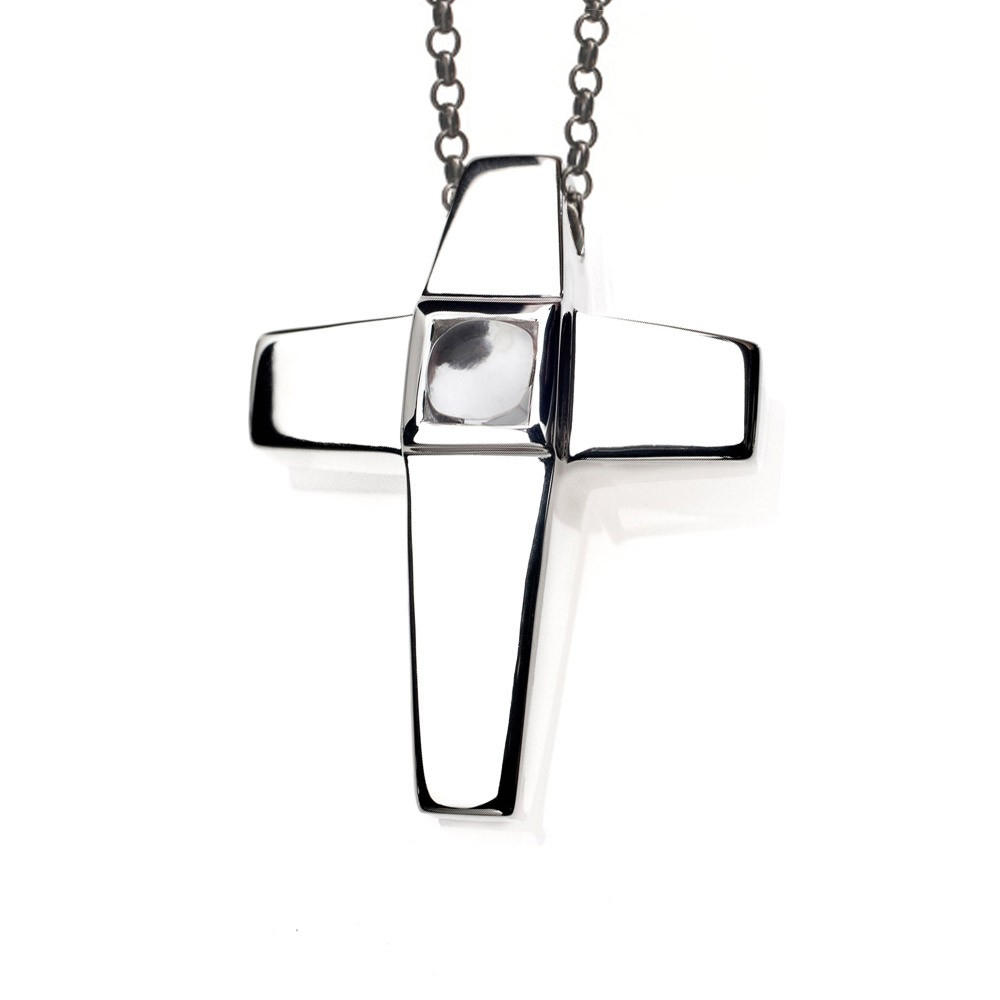 Cross Cremation Pendant Sterling Silver with White Topaz Birthstone - TM Keepsake | Treasured Memories Cremation Jewelry