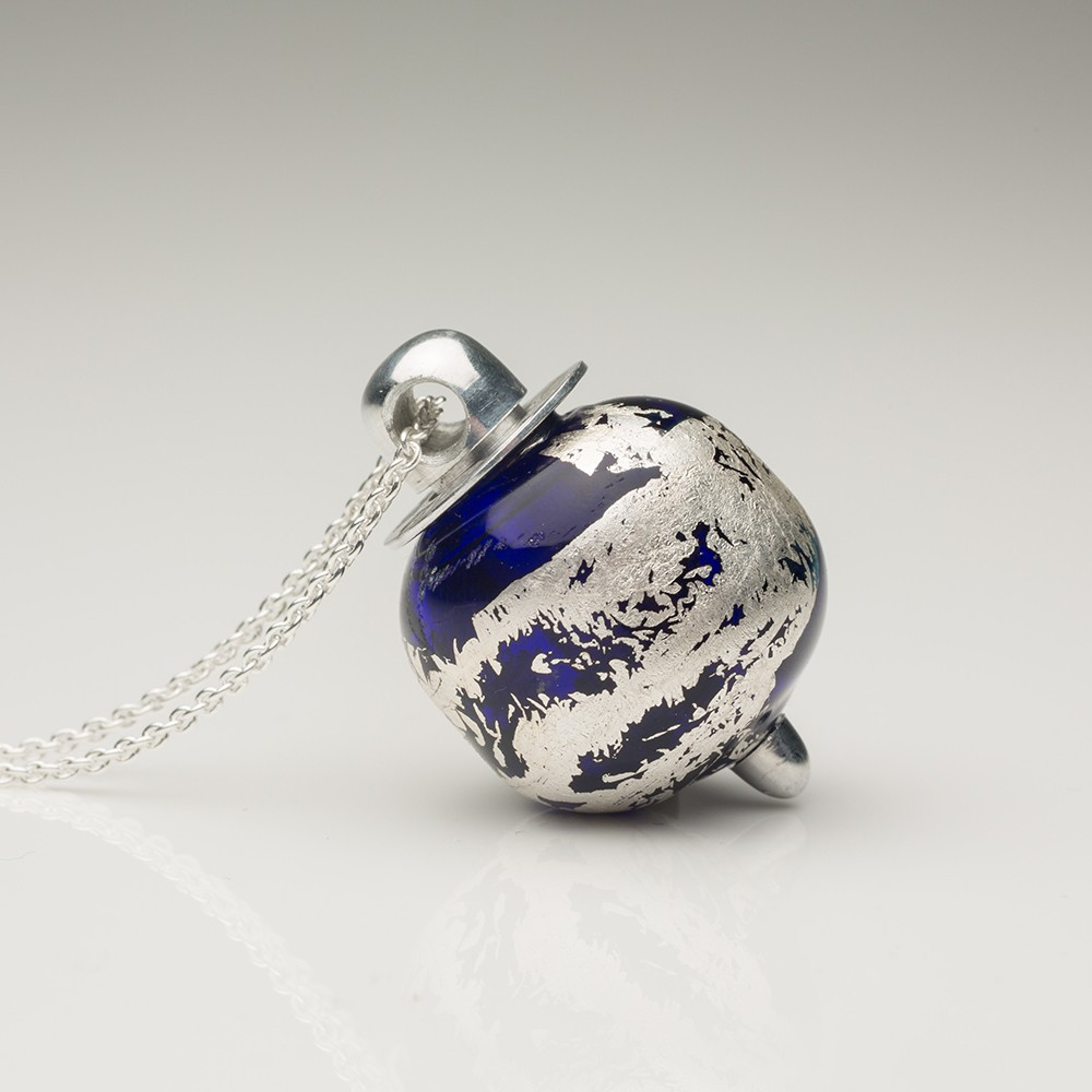 Cremation Jewelry Keepsake Murano Glass Bubble Pendant Blue and Silver