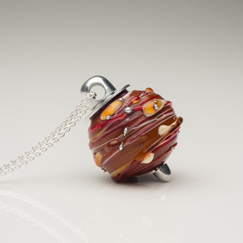 Cremation Jewelry Venetian Murano Glass Keepsake Pendant – Opaque Carmel - TM Keepsake | Treasured Memories Cremation Jewelry