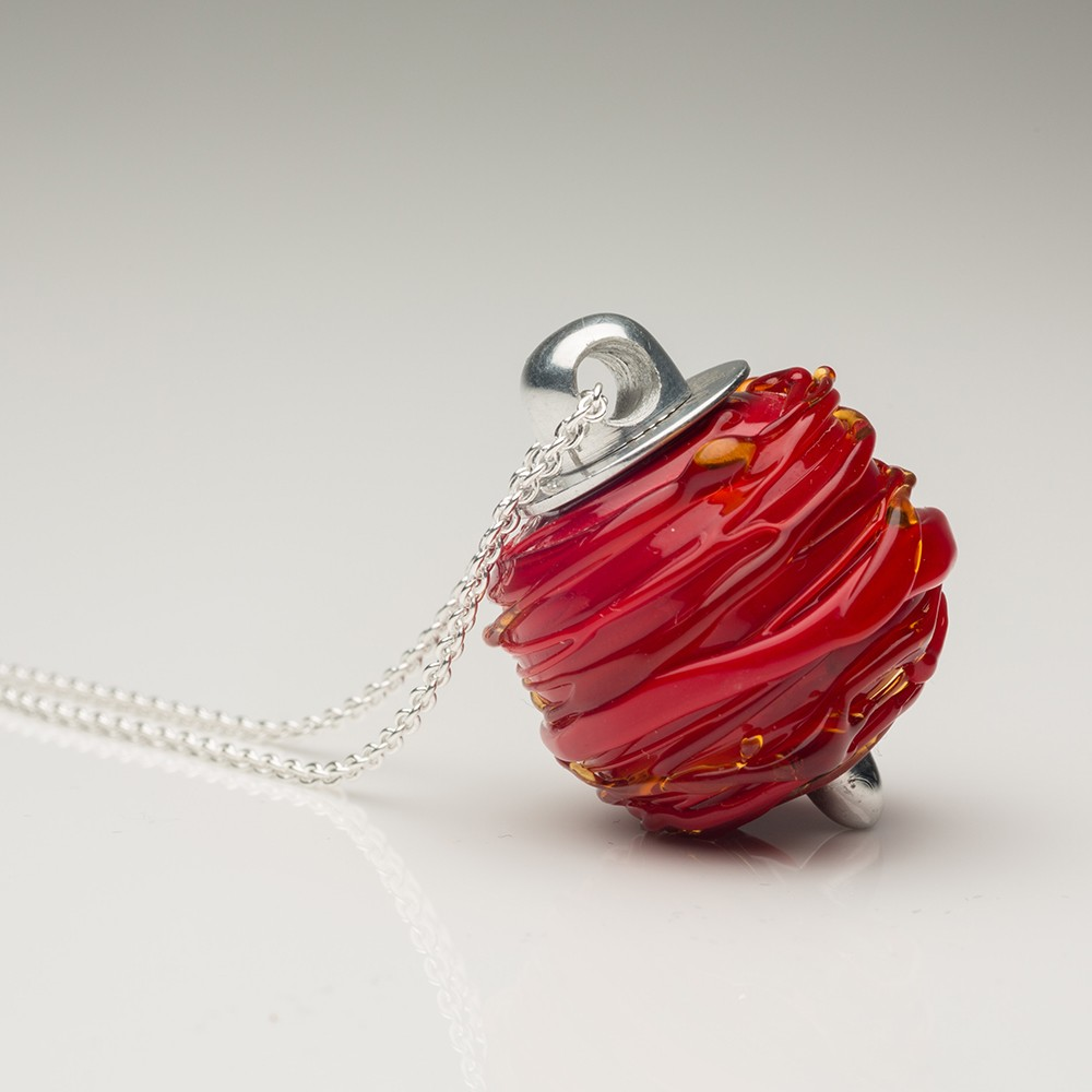 Cremation Jewelry Venetian Murano Glass Keepsake Pendant – Opaque Red - TM Keepsake | Treasured Memories Cremation Jewelry