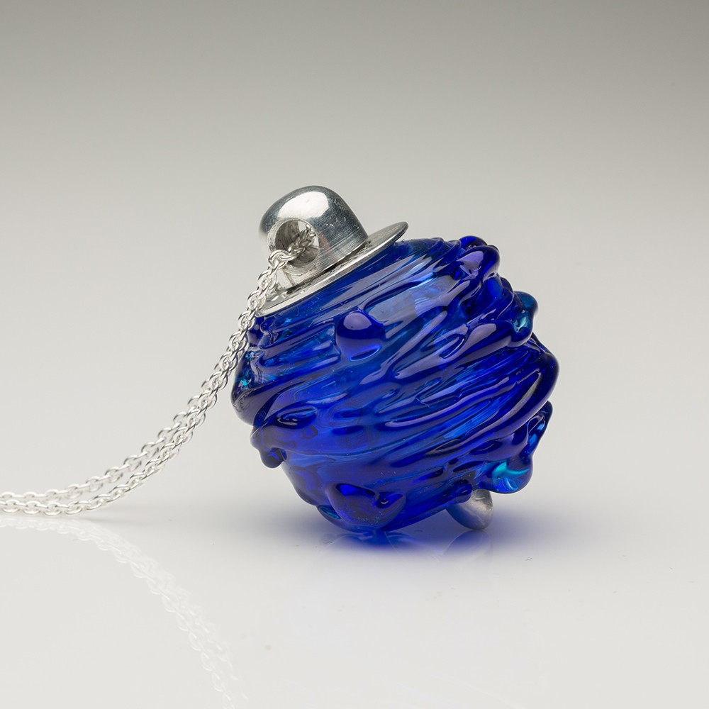 Cremation Jewelry Venetian Murano Glass Keepsake Pendant – Translucent Blue - TM Keepsake | Treasured Memories Cremation Jewelry