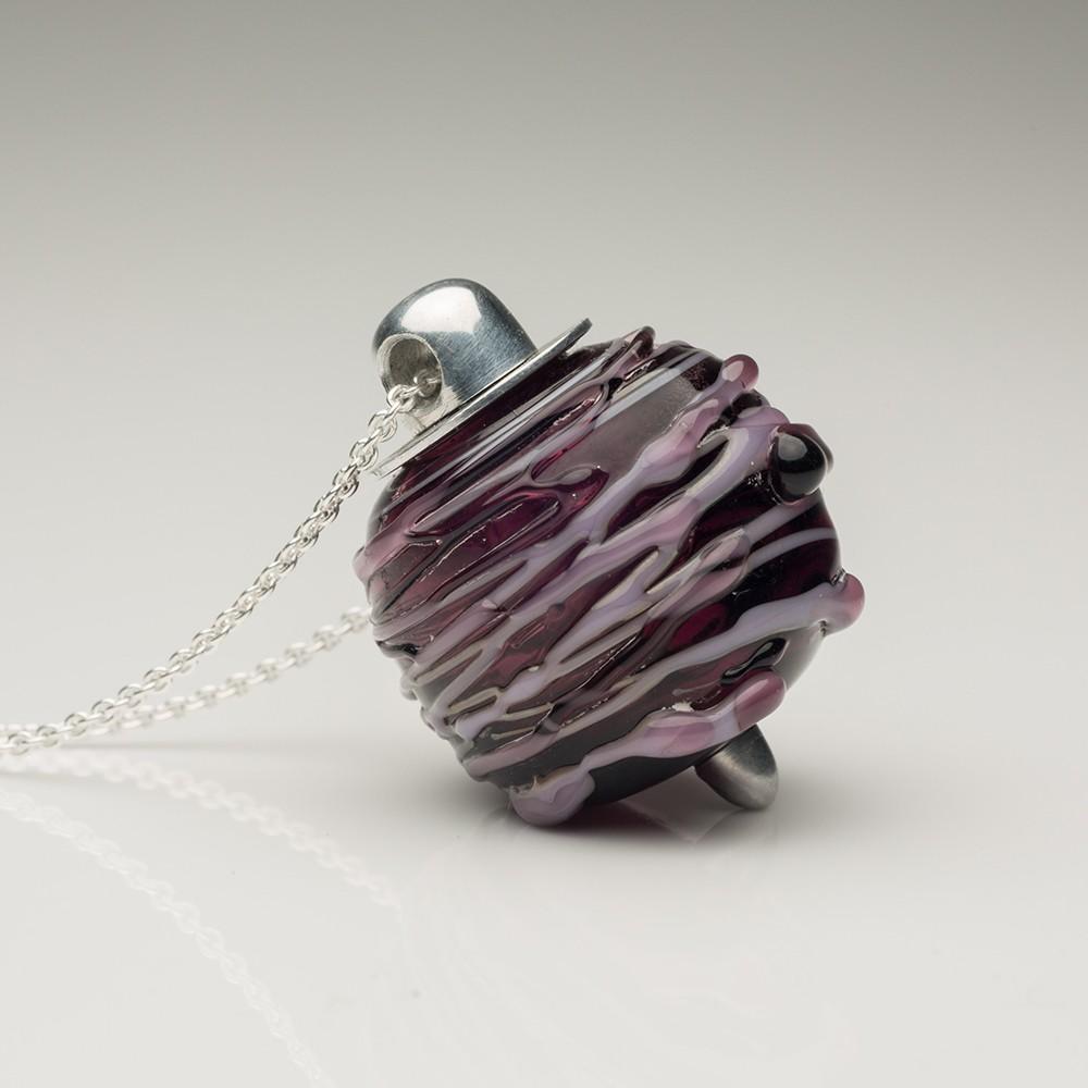 Cremation Jewelry Venetian Murano Glass Keepsake Pendant – Translucent Plum - TM Keepsake | Treasured Memories Cremation Jewelry