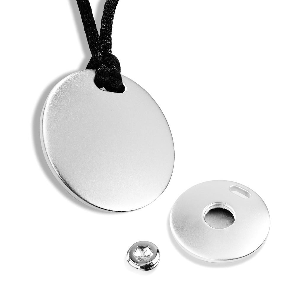 Cremation Pendant Sterling Silver Disk Keepsake Necklace - TM Keepsake | Treasured Memories Cremation Jewelry