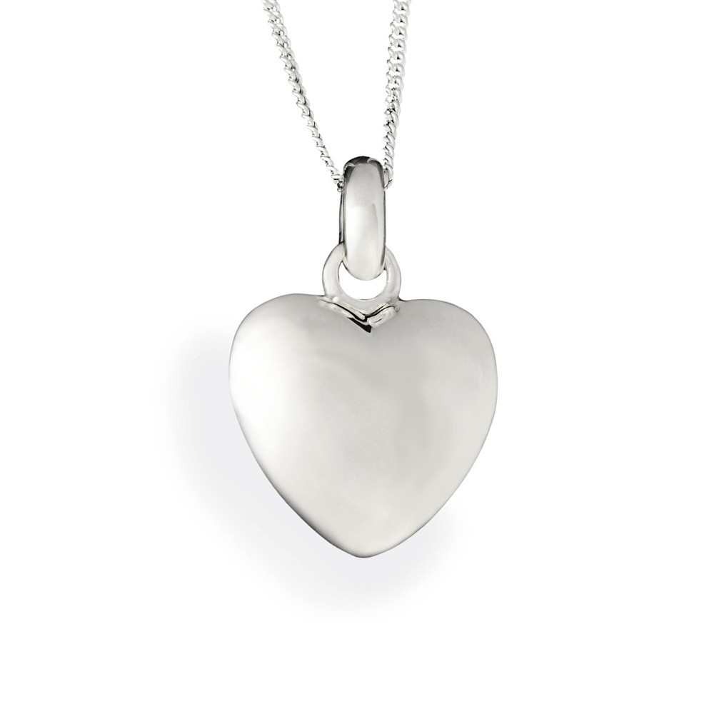 Puffed Heart Sterling Silver Cremation Pendant Keepsake Necklace Small - Keepsake Jewelry | Treasured Memories