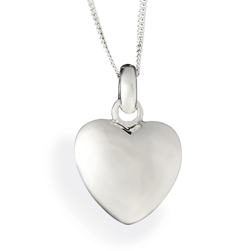 Puffed Heart Sterling Silver Cremation Pendant Keepsake Necklace  Large - TM Keepsake | Treasured Memories Cremation Jewelry