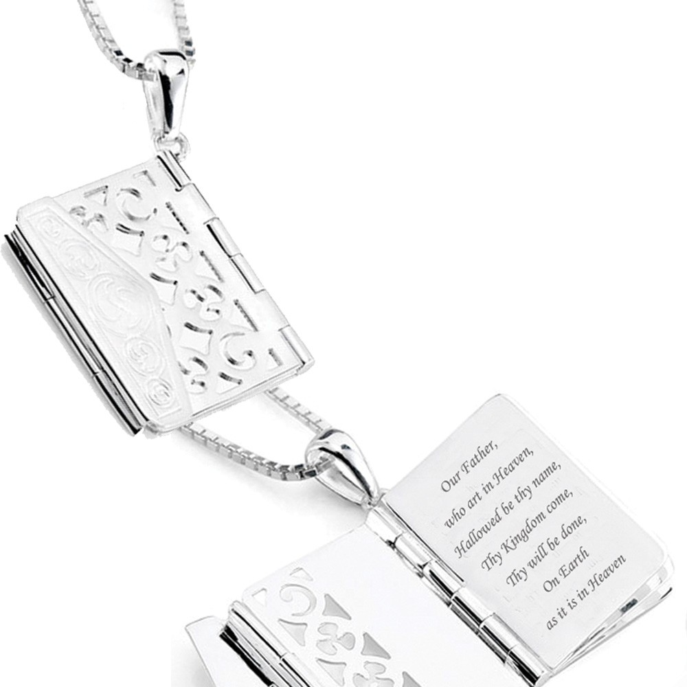 Memorial Book Locket Sterling Silver Keepsake Necklace - Treasured Memories | Keepsake Jewelry