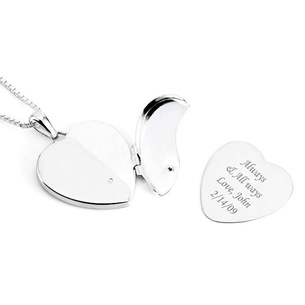 silver lockets locket engraved shaped heart family
