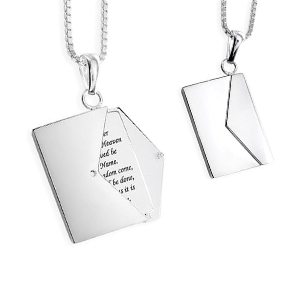 Memorial Locket Sterling Silver Message Envelope Keepsake Necklace - TM Keepsake | Treasured Memories Cremation Jewelry