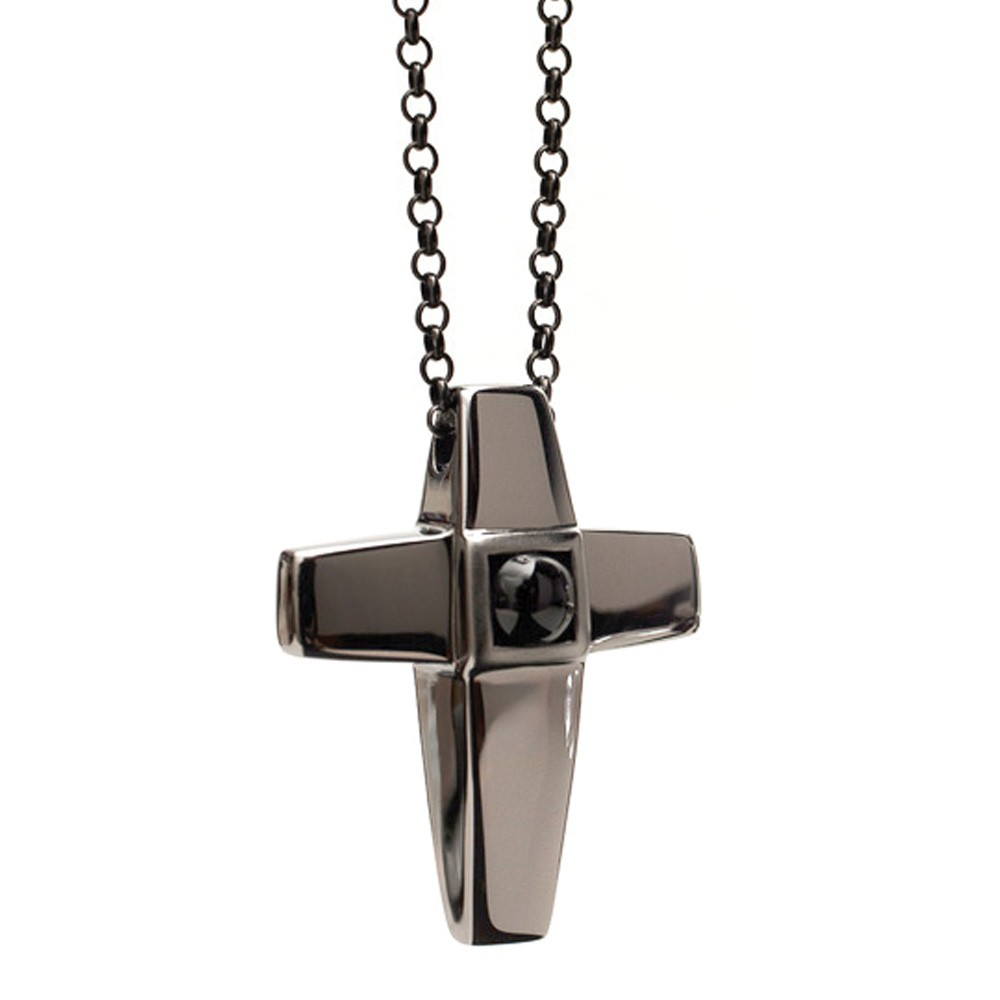 Cross Cremation Pendant Black Rhodium over Sterling Silver with Black Onyx - TM Keepsake | Treasured Memories Cremation Jewelry