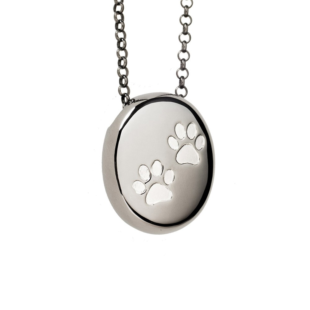 Paw Print Cremation Pendant Black Rhodium over Sterling Silver Pebble Necklace - TM Keepsake | Treasured Memories Cremation Jewelry