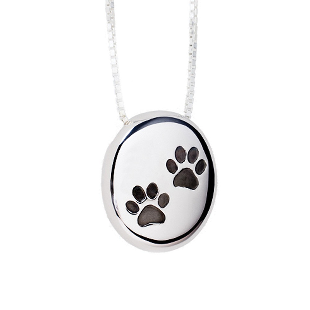 Paw Print Cremation Pendant Sterling Silver Pebble Keepsake Necklace - TM Keepsake | Treasured Memories Cremation Jewelry
