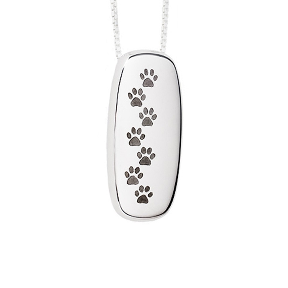 Paw Print Cremation Pendant Sterling Silver Rectangle Keepsake - TM Keepsake | Treasured Memories Cremation Jewelry