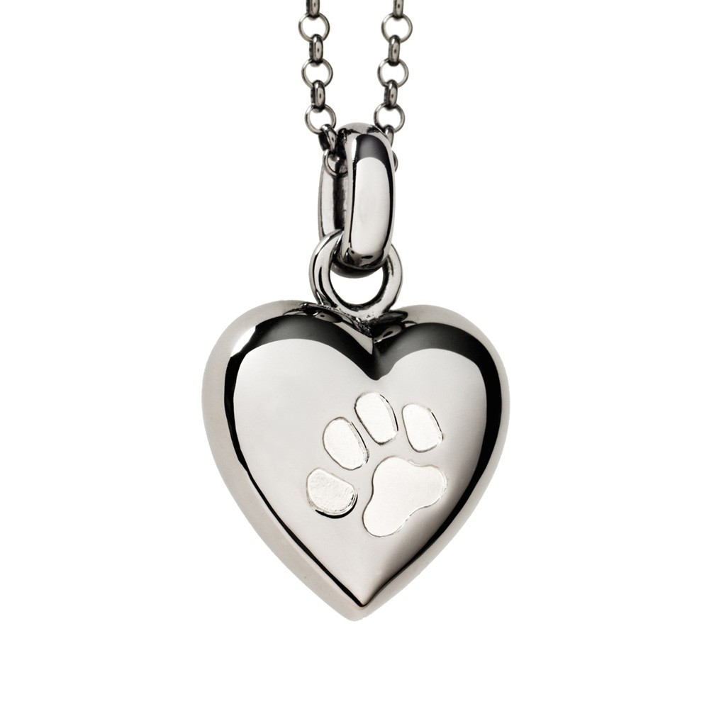 Pet Cremation Jewelry Keepsake Puffed Heart Pendant with two Paw Prints in Black Rhodium