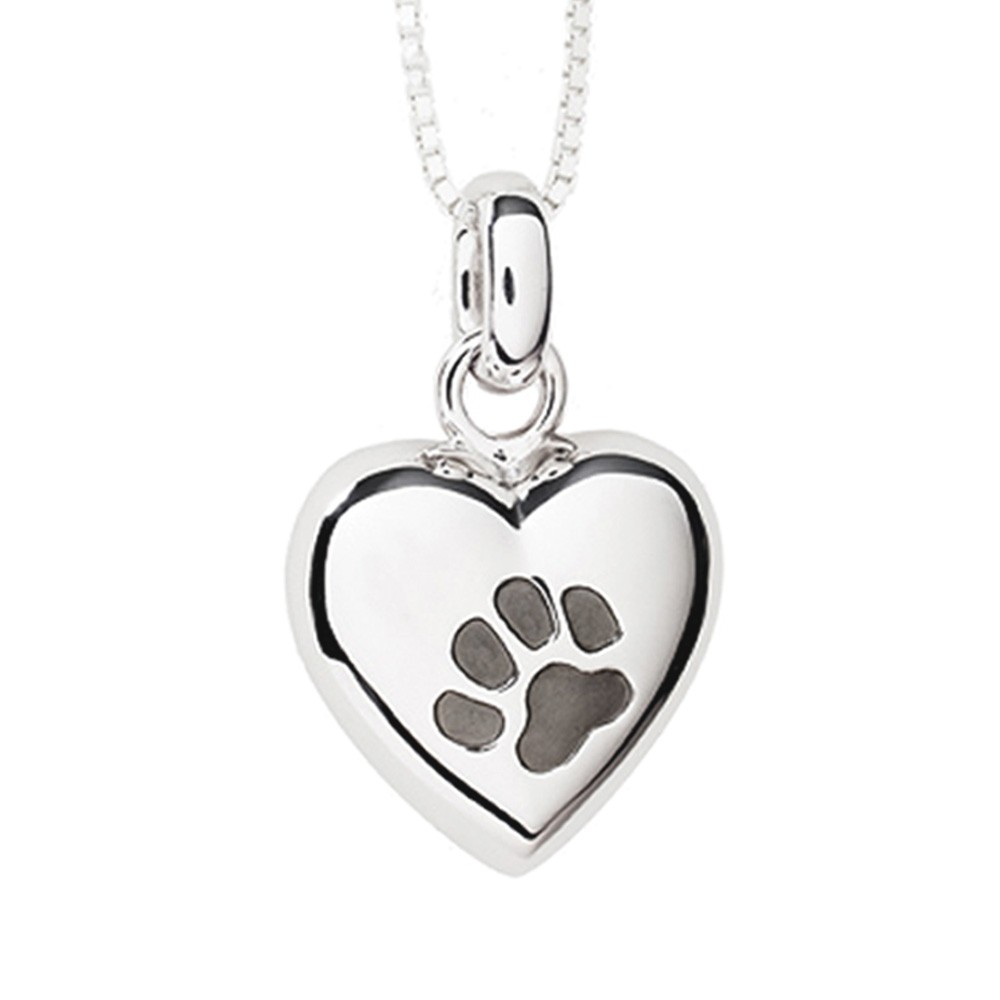 Pet Cremation Jewelry Keepsake Puffed Heart Pendant with one Paw Print in Sterling Silver