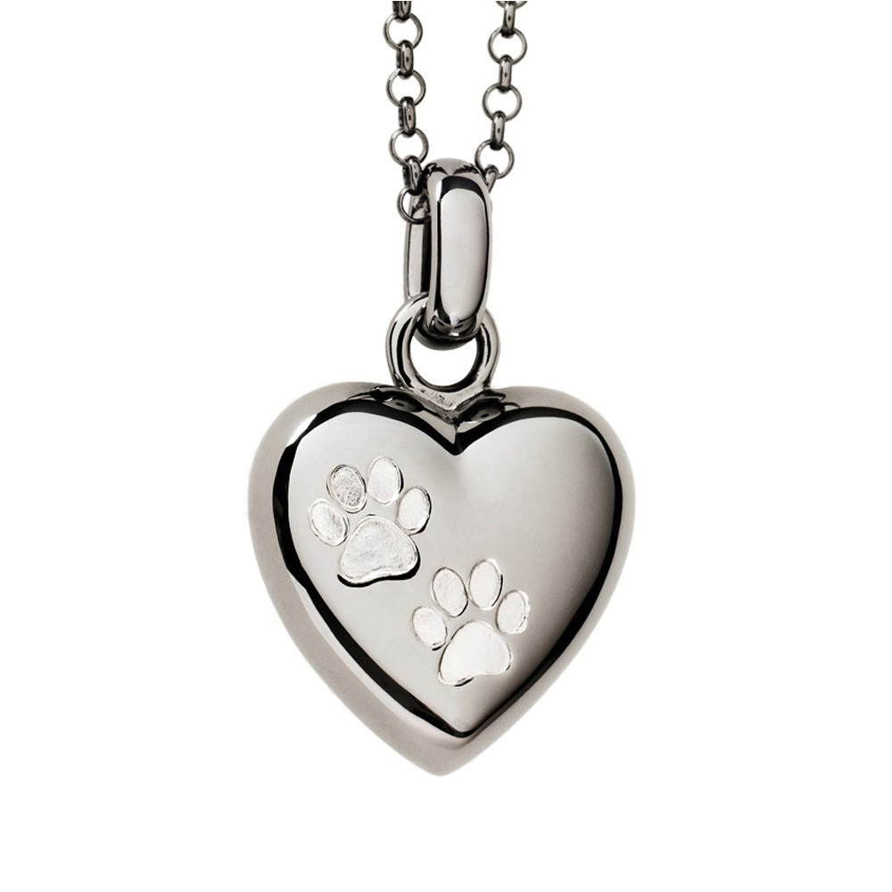 Paw Print Cremation Pendant Black Rhodium over Sterling Silver Two Paws Puffed Heart - Keepsake Jewelry | Treasured Memories
