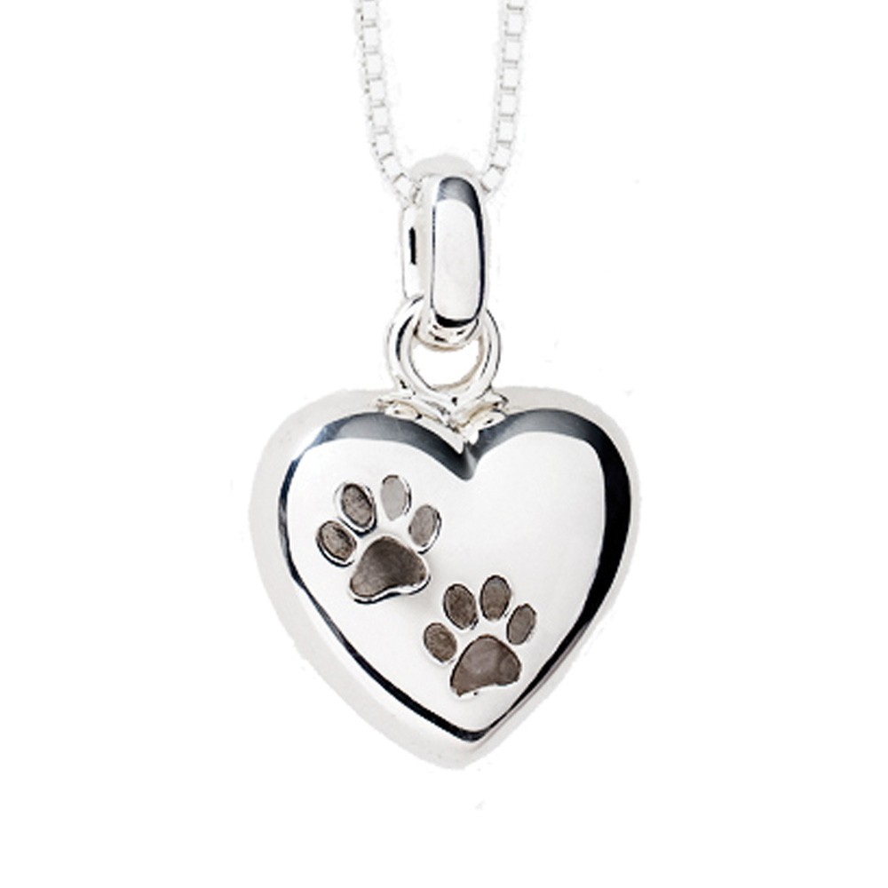 Pet Cremation Jewelry Keepsake Puffed Heart Pendant with two Paw Prints in Sterling Silver