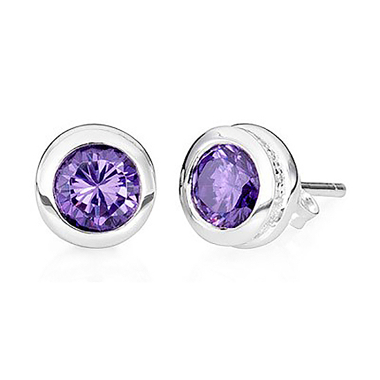 Sterling Silver Stud Amethyst Earrings – February Birthstone - Keepsake Jewelry | Treasured Memories