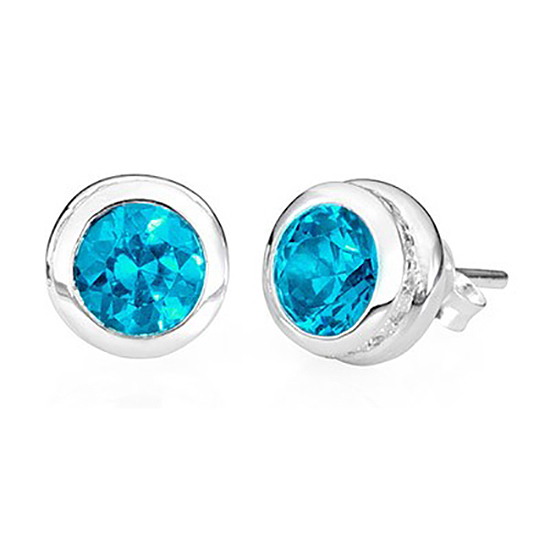 Sterling Silver Stud Blue Topaz Earrings – December Birthstone - Keepsake Jewelry | Treasured Memories