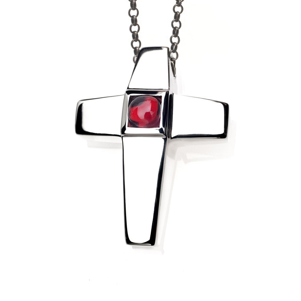 Cross Cremation Pendant Sterling Silver with Garnet Birthstone - TM Keepsake | Treasured Memories Cremation Jewelry