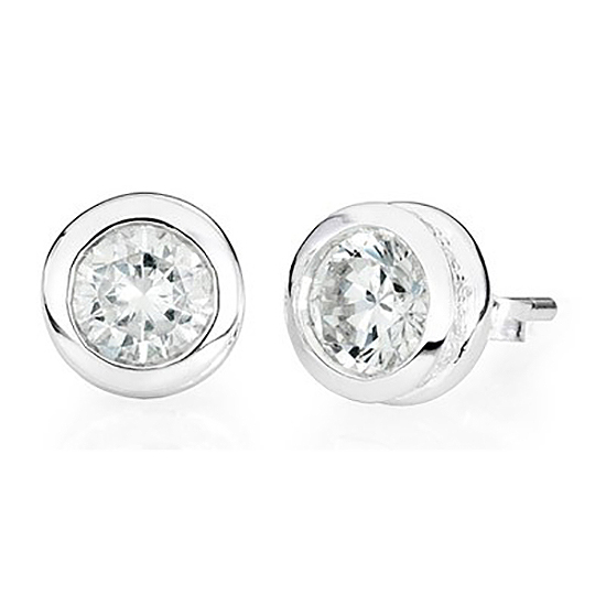 Sterling Silver Stud Earrings Diamond – April Birthstone - Keepsake Jewelry | Treasured Memories