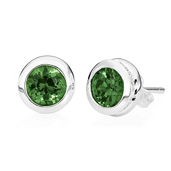 Sterling Silver Stud Emerald Earrings – May Birthstone - TM Keepsake | Treasured Memories Cremation Jewelry