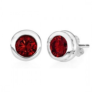Sterling Silver Stud Garnet Earrings – January Birthstone - Keepsake Jewelry | Treasured Memories