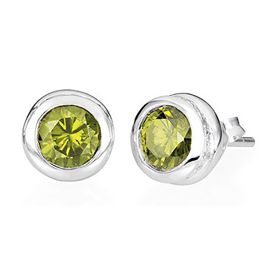 Sterling Silver Stud Peridot Earrings – August Birthstone - Keepsake Jewelry | Treasured Memories