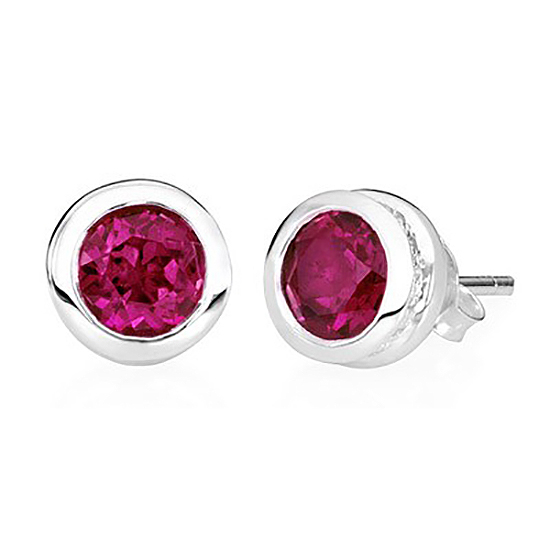 Sterling Silver Stud Ruby Earrings – July Birthstone - TM Keepsake | Treasured Memories Cremation Jewelry