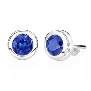 Cubs color Sapphire stud earrings September birthstone to match Treasured Memories cremation jewelry