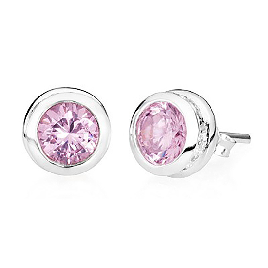Sterling Silver Stud Pink Tourmaline Earrings – October Birthstone - TM Keepsake | Treasured Memories Cremation Jewelry