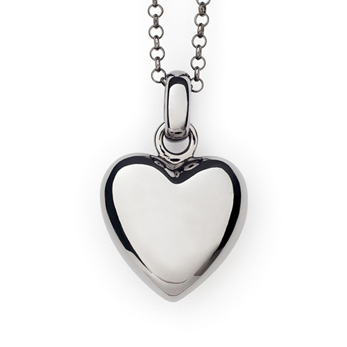 Cremation Pendant Black Rhodium over Sterling Silver Puffed Heart Keepsake Necklace - Keepsake Jewelry | Treasured Memories