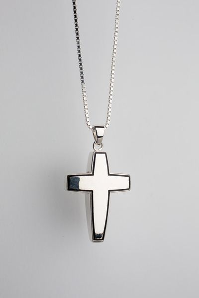 Classic Cross Cremation Pendant Sterling Silver - TM Keepsake | Treasured Memories Cremation Jewelry
