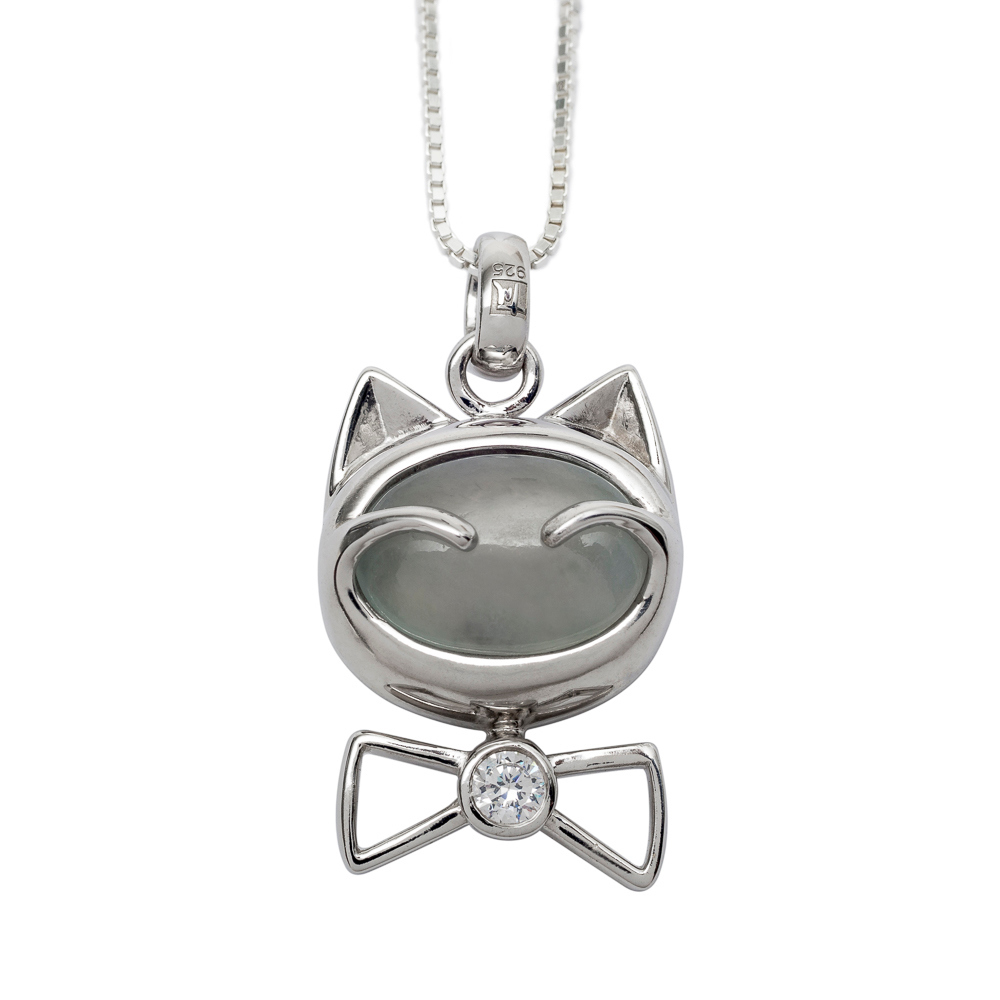 NEW! NozyPaws™ Sterling Silver Puffed Kitten Pendant w/ White Stone Face - TM Keepsake | Treasured Memories Cremation Jewelry