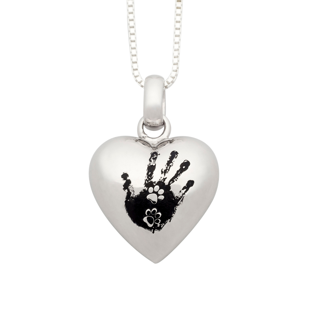 NEW! Sterling Silver NozyPaws™ Paw-Prints in Hand Puffed Heart Pendant - TM Keepsake | Treasured Memories Cremation Jewelry