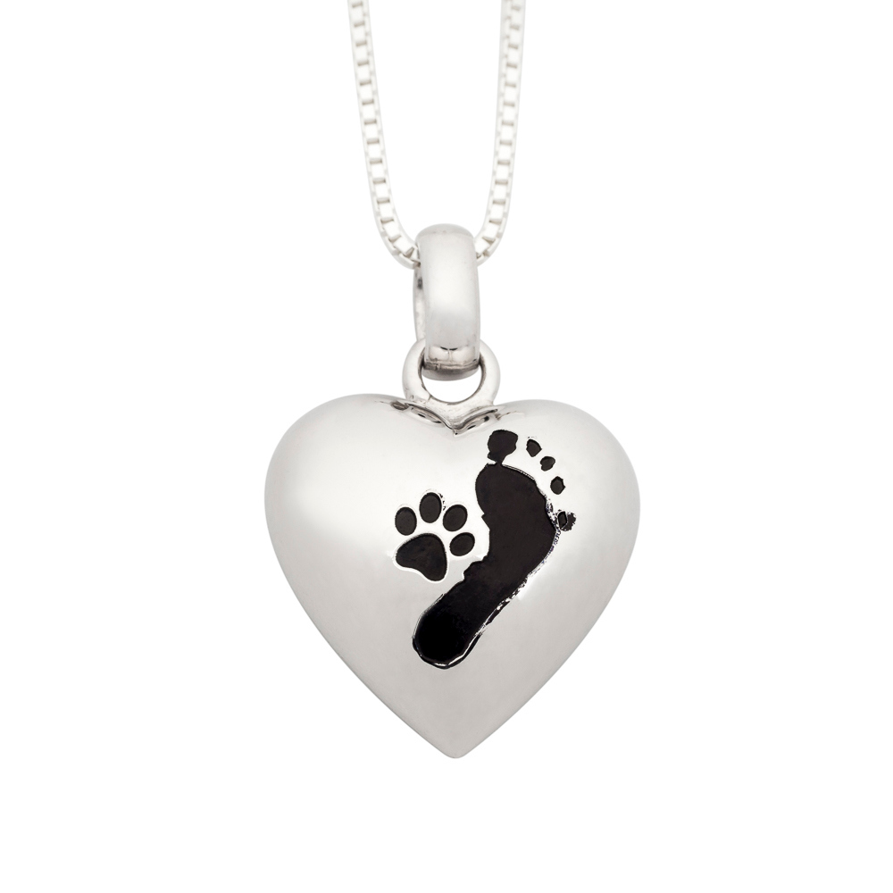NEW! Puffed Heart Pendant Sterling Silver w/ Paw Prints with Foot Prints - TM Keepsake | Treasured Memories Cremation Jewelry