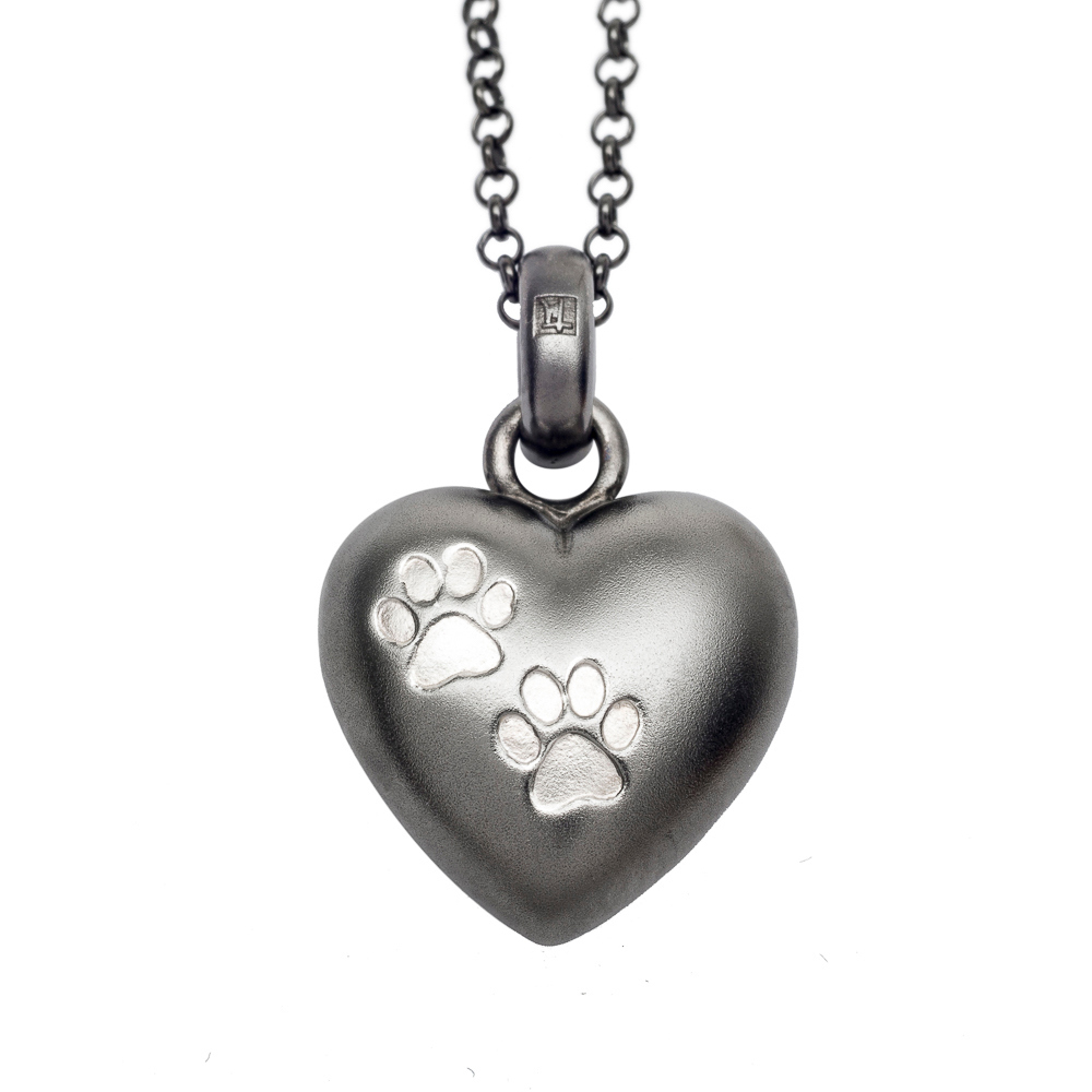 NEW! Puffed Heart Pendant in Frosted Black Rhodium over Sterling Silver w/ Two Paws - TM Keepsake | Treasured Memories Cremation Jewelry
