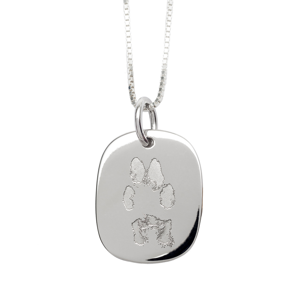 NEW! NozyPaws™ Custom Engraved Paw-Print Sterling Silver Keepsake Necklace - Keepsake Jewelry | Treasured Memories