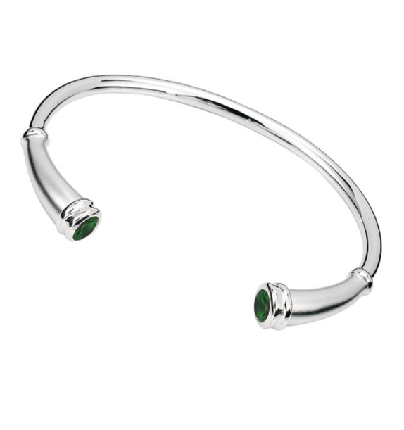 Cremation Bracelet Sterling Silver Classic Round Flute with Emerald May Birthstone – 20% Sale - Keepsake Jewelry | Treasured Memories