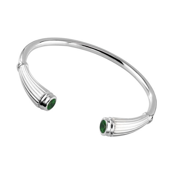 Cremation Bracelet Sterling Silver Classic Reed Flute with Emerald CZ Birthstones – 20% Sale - Keepsake Jewelry | Treasured Memories